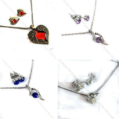 Prom Wedding Party Bridal Jewelry Crystal Pearl Necklace Earrings Sets UK Seller