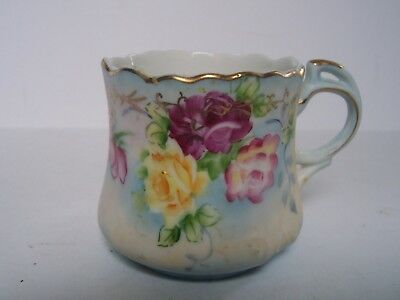 Nippon Pink Yellow Floral Porcelain Cup Gold Trim Hand Painted