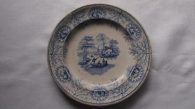 Victorian Blue & White Willow Pattern Plate – Unmarked Early Example