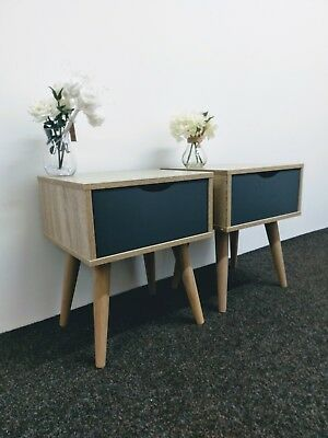 Pair of Scandinavian Style Bedside Tables - Nordic Lamp End Units  - Retro Side