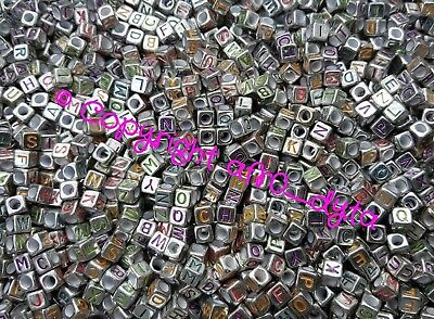 100 Silver & Coloured Alphabet Mixed Letters Cube Beads 6mm BUY 3 FOR 2