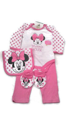 Disney Minnie Mouse Baby Girls 4 Piece Outfit Gift Set  0-3 Month