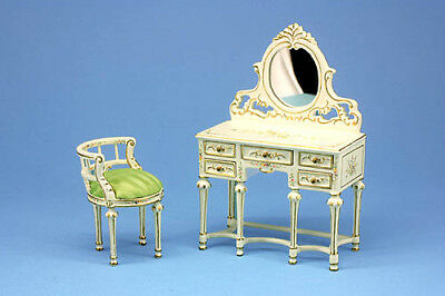 Beautiful Hand Painted Dressing Table & Chair, Dolls House Miniature, 1.12 Scale
