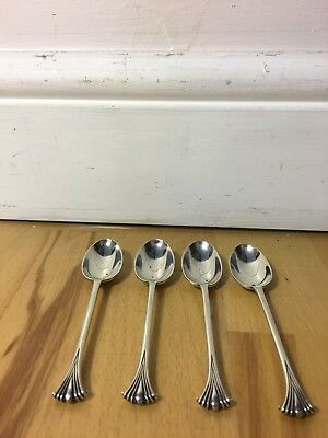 Beautiful Set Of Four Solid Hallmarked Silver  Tea / Coffee Spoons,