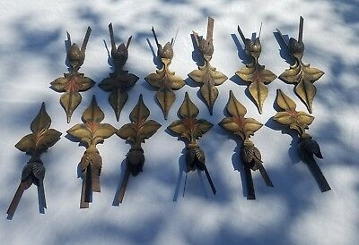Antique/Vintage. 12 Wrought Iron Fluer De Lis Finials. Fence or curtain.