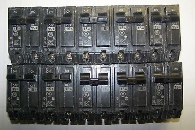 10) Ge General Electric 15 Amp 2 Pole 120/240 Volt Circuit Breakers Thql215