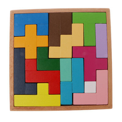 Wooden Tetris Puzzle Toy Brain Teaser Game Children Educational Toy Gift