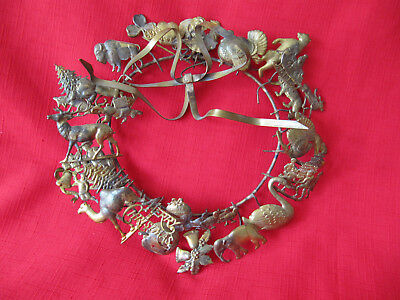 Petites Choses Brass Dresden Animals Holiday All Season Wreath Figures 10""
