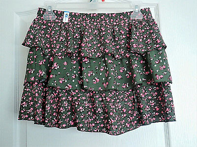 NWT JUSTICE Olive Fern Floral Tiered Ruffle Skirt w Shorts Sz 14