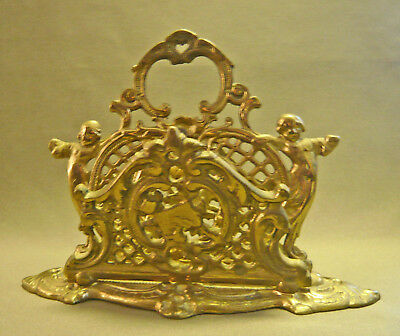 ~ Antique Heavy Cast Brass or Bronze Figural Letter Holder ~ w/ Two Sections