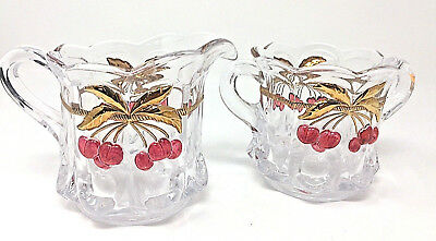 "1990s Mosser Glass Co ""Cherry Thumbprint"" Clear Crystal Sugar and Creamer"
