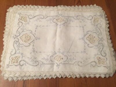 Antique Italian Point De Venise LACE Placemat Set of 12 Embroidery