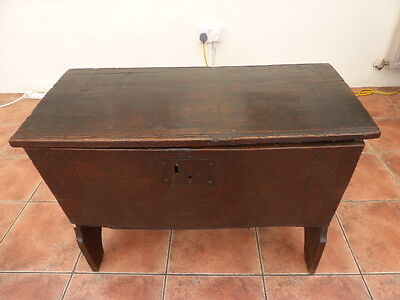 Primitive Country Oak Six  Plank Coffer 1640 Free Shipping To England
