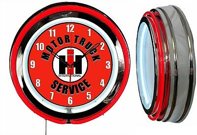 "International Motor Truck Service 19"" Double Neon Clock Red Neon Chrome Finish"