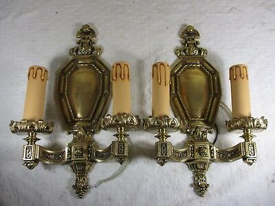 Pair of Antique Brass/Bronze Ornate Two-Arm Candelabra Style Electric Sconces #1