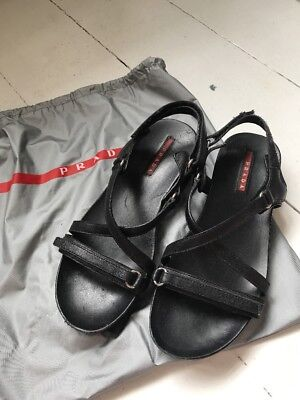 AUTHENTIC PRADA sports Leather Flat Sandal With Rubber Sole Sz 38