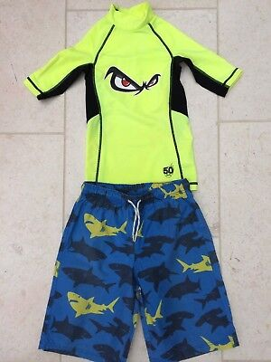 Mini Boden Boys Board Shorts & No Fear Rash Vest Age 9-10 Years