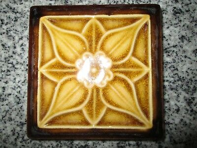 """Antique  4""""  Square Brown  and Tan/Yellow Pottery Tile"""