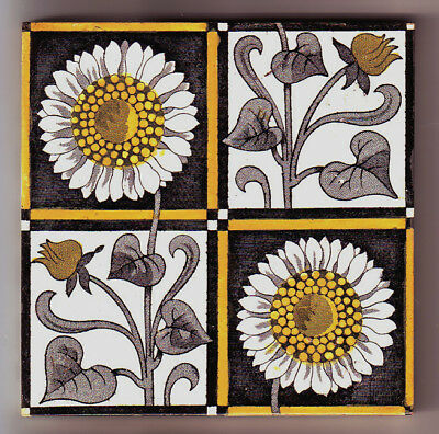 Superb ANTIQUE MINTON TILE c 1875 ARTS and CRAFTS or AESTHETIC SUNFLOWER