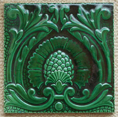 CLASSIC Large Antique c1880 TILE MINTON and HOLLINS MAJOLICA 8 Inches Square