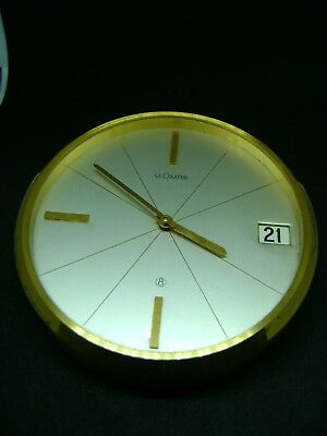 Vintage Lecoultre 8 Day Desk / Date Clock In Good Working Order