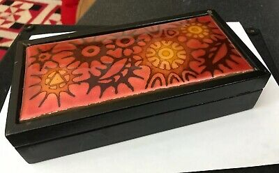 Vintage Orange Copper Enamel Enamelled Abstract Sputnik Trinket Cigarette Box