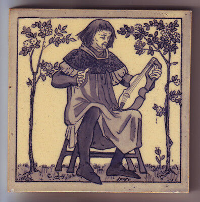 Rare ANTIQUE COPELAND MEDIEVAL MUSICIAN TILE CITOLE SYTOLE 1879 ARTS and CRAFTS