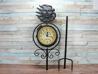 Outdoor garden metal Jura clock on a stick double sided thermometer solar