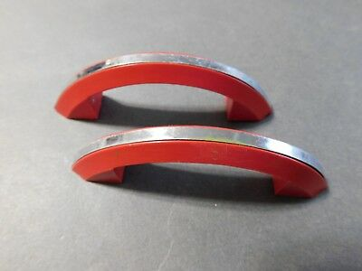 "Lot Of 2 Art Deco  Red Plastic Chrome Drawer Pulls  2 1/2"" Space"