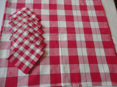 "Vintage 1950's Tablecloth & 6 Napkins Red & White Check 48"" X 52"" Cannon"