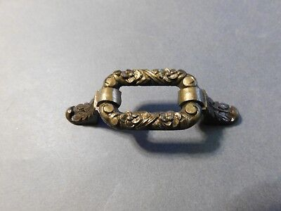 """Antique Brass Drawer Pull Made In England 2 1/2"""" Space"""