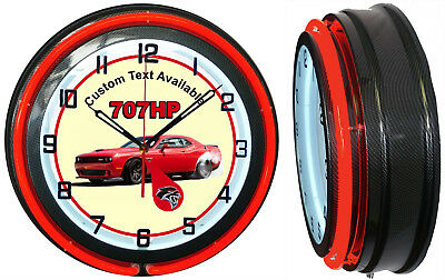 "Hellcat Car 707 HP Red Challenger 19"" Double Neon Clock Red Neon Carbon Fiber"