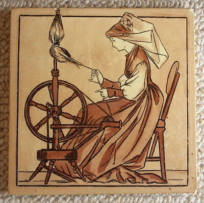 COPELAND TILE c1877 MEDIEVAL LEISURE OCCUPATIONS Lady Spinning Rare Colourway