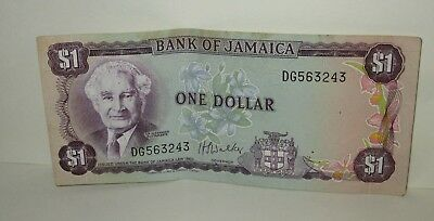 Vintage Bank Of Jamaica Jamaican  $1 Dollar Currency Bill Money Circulated 1960