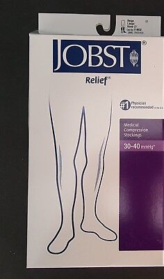 NEW Jobst Relief Large Beige Closed Toe Knee Length Compression Socks 30-40