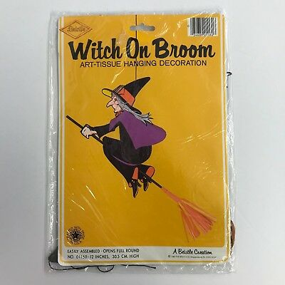 Beistle Witch on Broom Halloween Art Tissue Hanging Decoration 12in 1980 01160