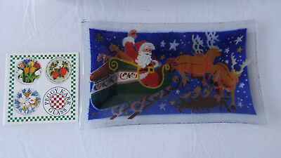 """Peggy Karr Fused Glass Santa Claus Reindeer Plate Dish 7.5x13.5"""" SIGNED"""