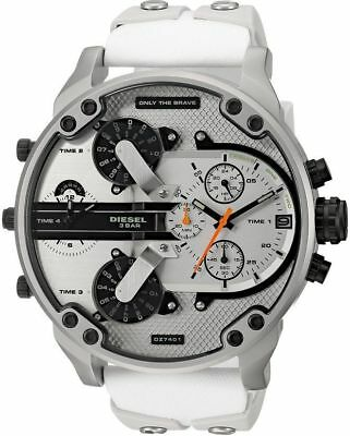 722717f574d5 DIESEL DZ7401 MR DADDY 2.0 White Multiple Time Zone Chronograph Mens Watch  NEW