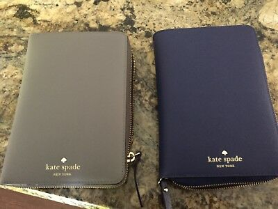 Kate Spade Cliff Grey Mikas Pond Zip Around Organizer Planner Agenda NWT