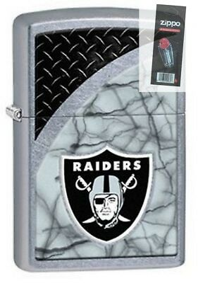 Zippo 29373 Oakland Raiders NFL Street Chrome Finish Lighter + FLINT PACK
