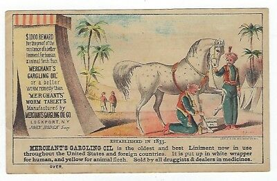 Merchant's Gargling Oil late 1800's medicine trade card variation #A (of four)