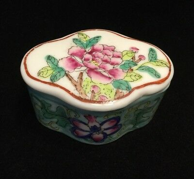 Small Chinese Rose Famille Porcelain Trinket Box With Lid              #3427
