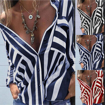Fashion Womens Long Sleeve Loose Blouse Casual Shirt Summer Striped Tops T-Shirt