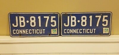 1977 Connecticut License Plate Pair Jb 8175 Yom Year Of Manufacture Both Sticker