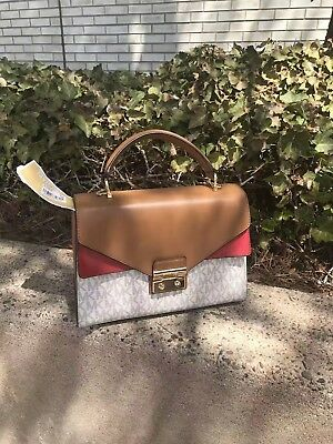 6796ec717c8f NWT Michael Kors Top Handle Satchel Sloan (medium) Vanilla  Acorn  Bright  Red