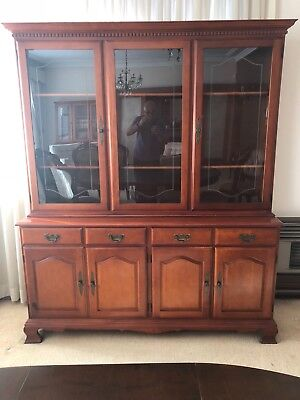 Antique full timber display dining cabinet with glass and timber doors
