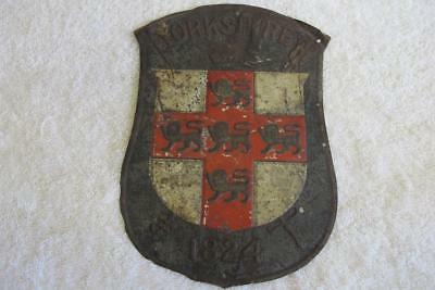 Antique Yorkshire Crest Painted Tin Sign – Heraldry marked 1824 – Postal?
