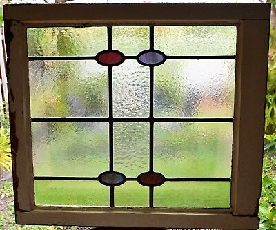 Antique Leaded English Stained Glass Window Wood Frame England Old House 74