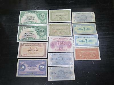 Austria Allied Military Currency 1944 Groschen Schilling Ww2 Banknote Collection