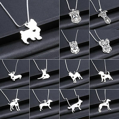 Silver/Gold Dog Puppy Bulldog Dachshund Shepherd Charm Pendant Necklace Gift